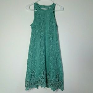 Altar'd state green halter neck lace dress small